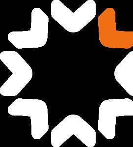A company logo with arrows